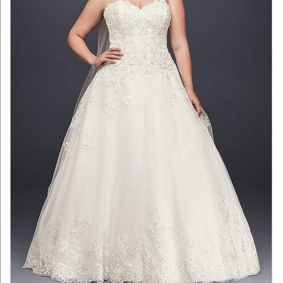 Jewel Beaded Lace & Tulle Plus Size Wedding Dress NWT